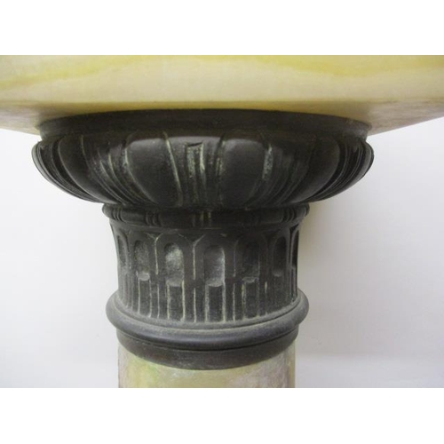 179 - A late 19th century yellow, red and white onyx plinth, fashioned as a column with a cast brass capit...