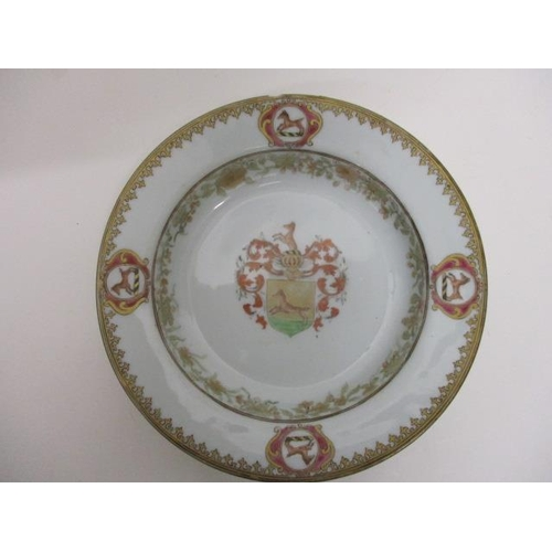 186 - An 18th century Chinese porcelain to include an armorial bowl, 7 1/2