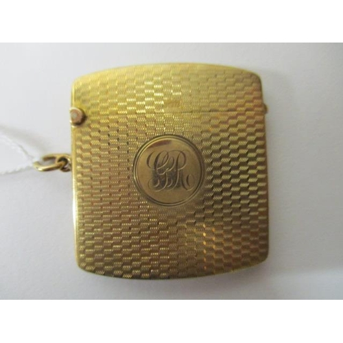 65 - A 9ct gold vesta case of cushioned form with engine turned decoration, initialled, 27g total...