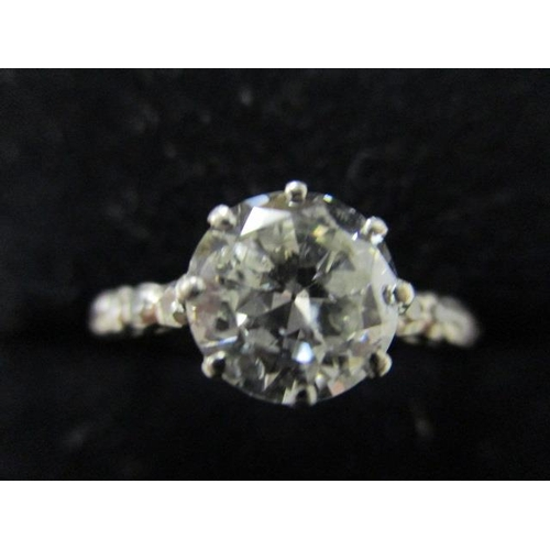 67 - A solitaire diamond ring in a claw setting and ten diamonds in rub-over settings to the shoulders, t...