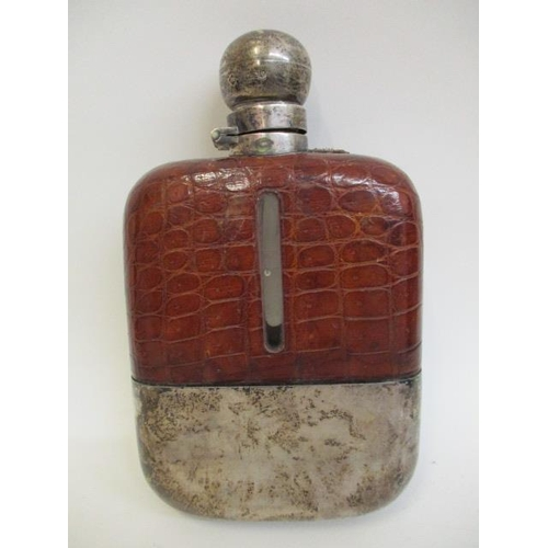 75 - An early 20th century large leather clad, glass and silver hip flask by James Ramsay, Sheffield 1921...