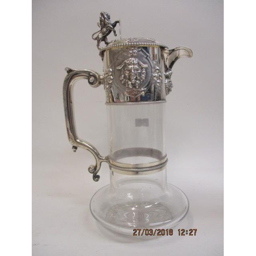 78 - A Victorian glass and silver mounted claret jug by John William Figg, London 1858, decorated with ca...