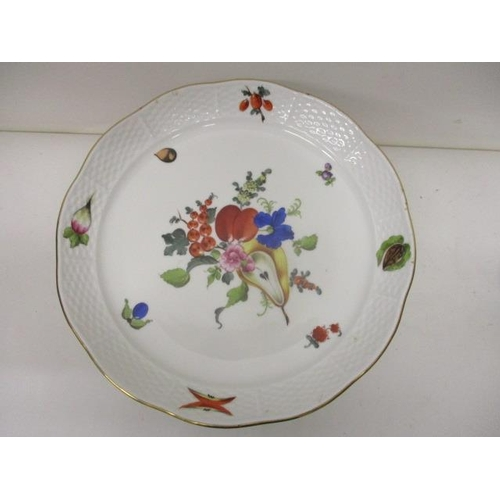 213 - A Herend porcelain tazza decorated with fruit, vegetables and nuts with a blue backstamp, 5 3/4