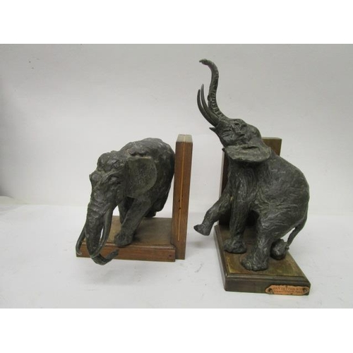 16 - Ary Jean Leon Bitter 1883-1973 - a pair of Art Deco white metal elephant bookends, mounted on origin...
