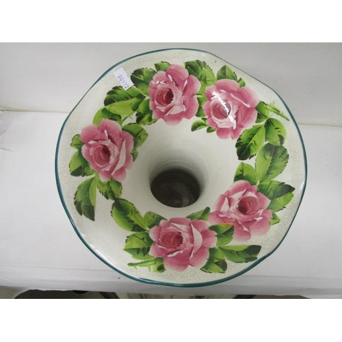 20 - A Wemyss Lady Eva shaped vase decorated with pink painted cabbage roses, 11 1/2