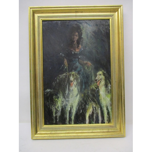 218 - Gordon King - a full length portrait of his wife, flanked by dogs, oil on board signed 17