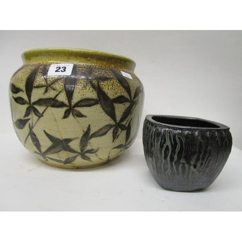 23 - A Martin Bros stoneware jardiniere with painted leaf design, ovoid shape, slightly shouldered with a...