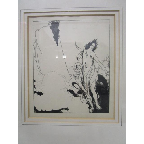 51 - Aubrey Beardsley 1872-1898 - Dash Rheingold, Tableau 4, a proof illustration, figures in a skyscape,...