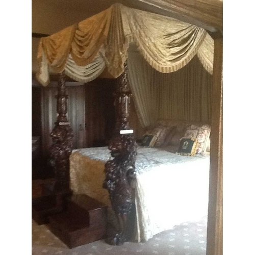 273 - A 19th century and later four poster bed with beige and cream floral and pleated drapes having twin ...