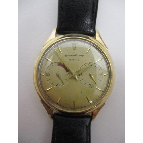 1 - A Jaeger Le Courtre Futurematic gents, automatic 9ct gold wristwatch, circa 1950, having subsidiary ...