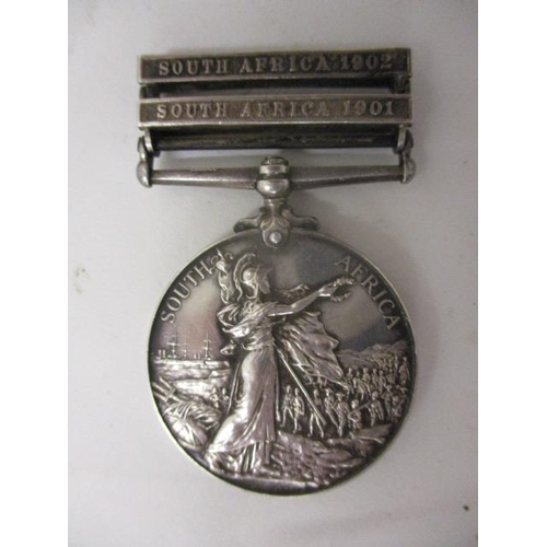 107 - An Edward VII Queen's South Africa medal with two clasps, South Africa 1902 and South Africa 1901, i...