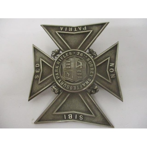 108 - Badge - a silver 26 Surrey, Shaftesbury Park Rifles helmet plate...