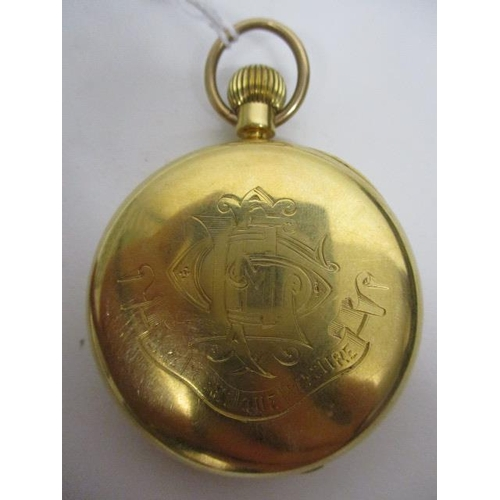 13 - A Victorian 18ct gold cased, open faced pocket watch, the white enamel dial marked Webster, Queen Vi...