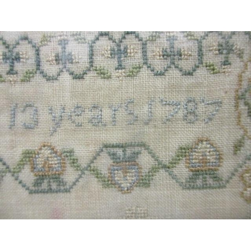 233 - A George III sampler decorated with the alphabet, numerals, text, Adam and Eve, birds, Animals and o...