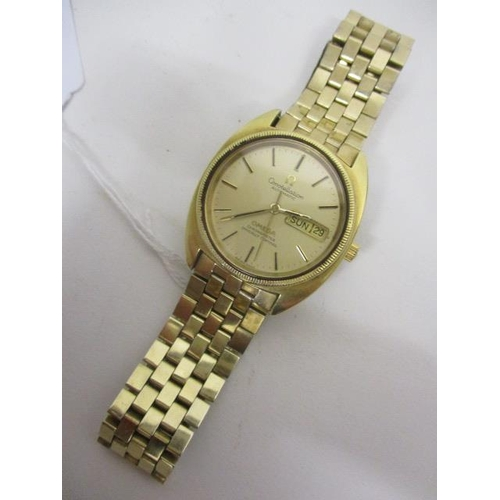 3 - An Omega constellation gents, automatic, gold plated wristwatch, circa 1980, having a gilt baton dia...