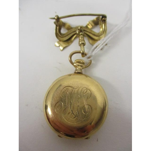 30 - An early 20th century Tiffany & Co, gold cased ladies fob watch having subsidiary seconds dial at 6 ...