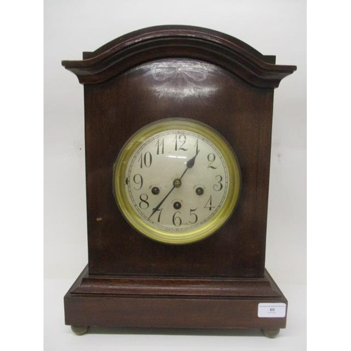 60 - An early 20th century inlaid mahogany case mantle clock having an 8 day striking movement, inscribed...