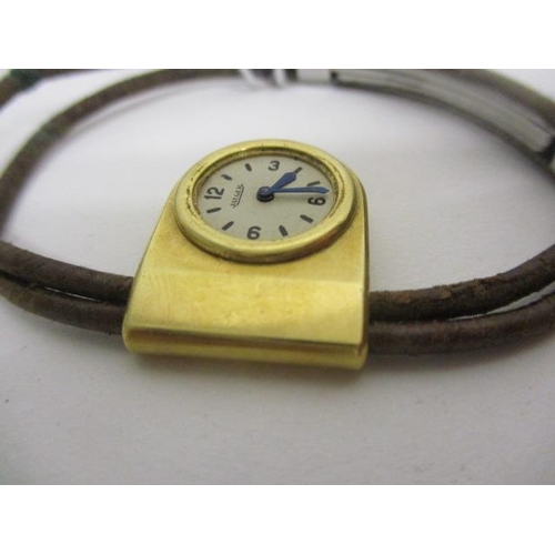 9 - An early 20th century Jaeger ladies, manual wind, 18ct gold bracelet watch having a reverse winding ...