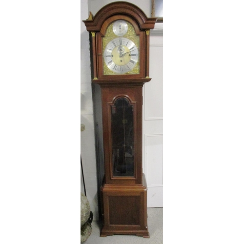 88 - An early 20th century longcase clock, the Winterhalder chiming movement, striking on eight gongs wit...