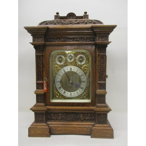 89 - A J W Benson, London, Director's clock, the chiming movement striking on five gongs and eight bells,...