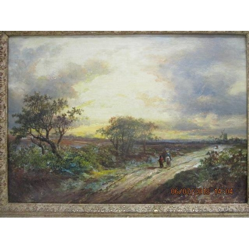 116 - Joseph Thors - a pair of rural scenes with two figures and a horse on a path and buildings beyond, o...