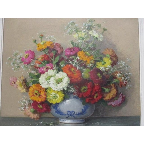 141 - Maurice Decamps - a still life of flowers in a bowl, oil on canvas, signed lower right corner 21 1/2...