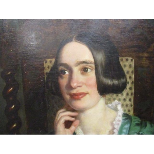 142 - ** Scott - a half length portrait of a girl with black hair wearing a green dress with a lace collar...