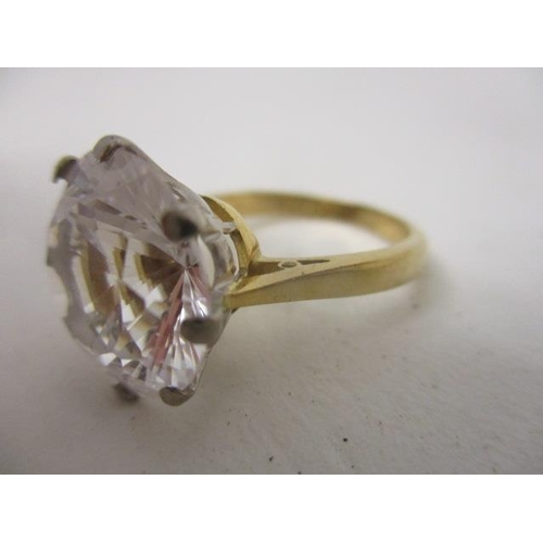 231 - An 18ct gold synthetic white sapphire ring with a claw setting, size of stone 13.65mm x 13. 65mm x 7...