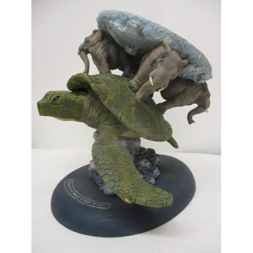 110 - A 'Discworld Characters' composition model of a turtle riding the crest of a wave with four elephant...