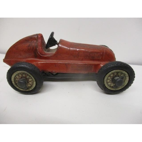 16 - A Schuco tin plated, red Mercedes toy racing car No 1050, wind-up mechanism, 5 1/2