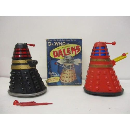 18 - Two Marx Toys Dr Who BBC TV The Mysterious Daleks, battery operated, 6 1/2