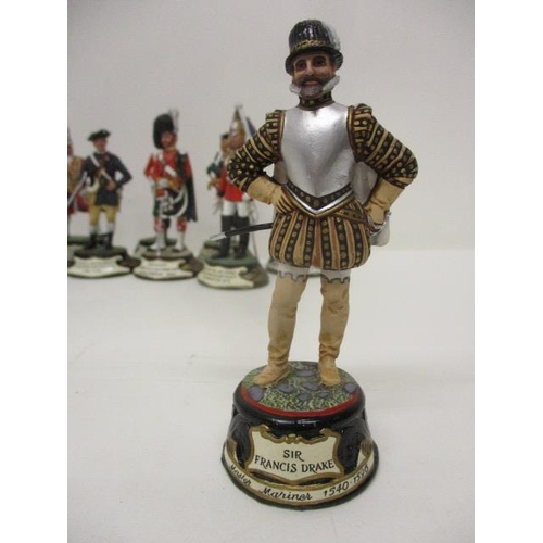 63 - Thirty seven Chas C Stadden painted, cast metal model soldiers, the majority boxed and a model of Si...