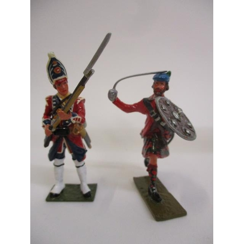 60 - Approximately seventy painted, cast metal toy soldiers to include English and Scottish regiments