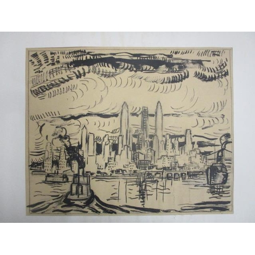 250 - Adriaan Lubbers - a view from East River with boats and New York skyline beyond, ink and pencil, uns...