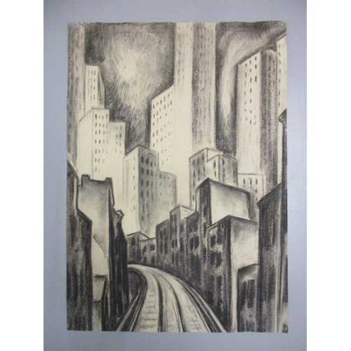 251 - Adriaan Lubbers - a New York train line with high rise buildings, charcoal, signed and dated 1927, t...