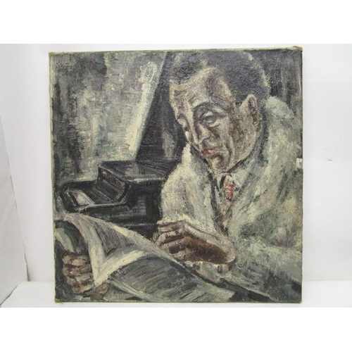 252 - Adriaan Lubbers - a half length portrait of a man reading a book with a grand piano beyond, oil on c...