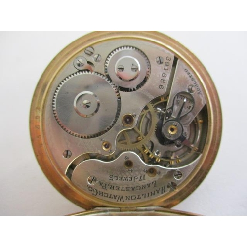 31 - A Hamilton gents gold plated, cased open faced pocket watch having Roman numerals, subsidiary second...