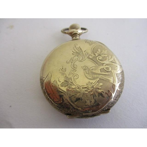 32 - A Waltham gold plated cased Hunter pocket watch having subsidiary seconds dial and blued hands...