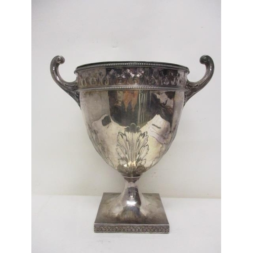 66 - An Edwardian silver Campana shaped wine cooler by Elkington & Co Ltd, London 1902, with a removable ...