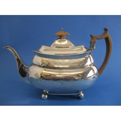 89 - A George III silver teapot by Samuel Godbehere, Edward Wigan, James Boult, London 1810 of oval belli...