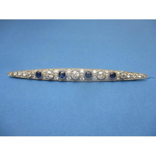 88 - A continental bar brooch set with four sapphires and diamonds, separated by sixteen diamonds and fla...