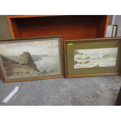 10 - W H Dyer - a coastal scene, and Ernest Stuart - a coastal scene, both watercolours, framed and glaze...