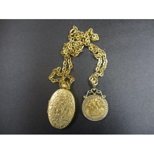 16 - A gold half-sovereign and a yellow metal locket stamped 375 on a gold plated chain...