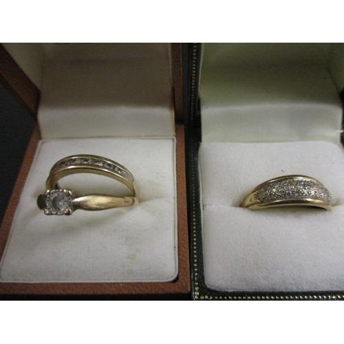 17 - Three 9ct gold and diamond rings...