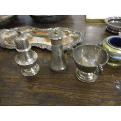 30 - A mixed lot of silver plate, silver condiments, two 19th century plates, entree dishes and other ite...