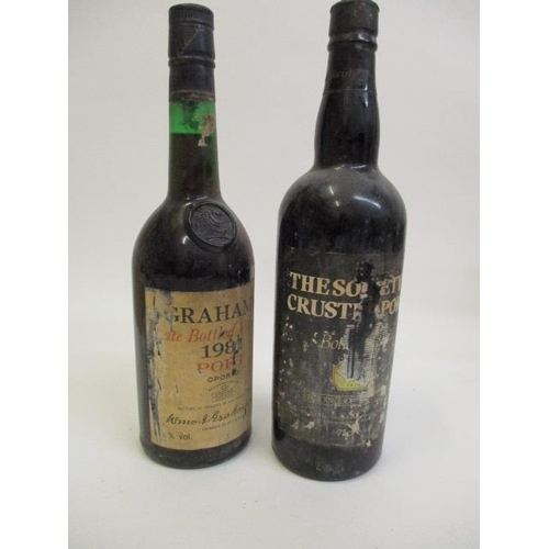 102 - Two bottles of port to include Grahams late bottled vintage 1982 and The Society's crusted port...