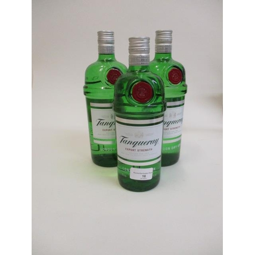 16 - Three bottles of Tanqueray Dry Gin, 2Lt, 70cl...