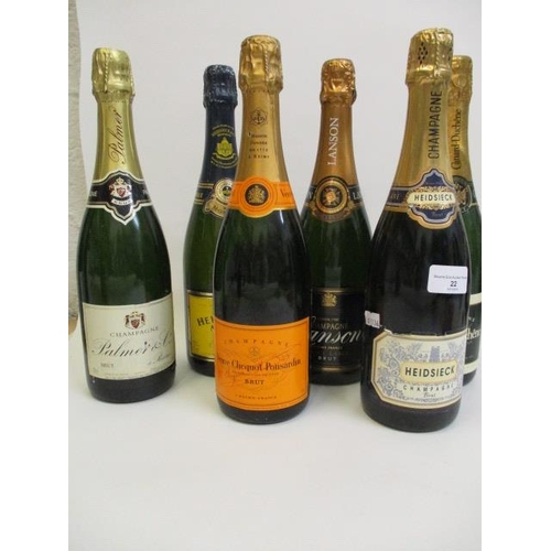 22 - Six bottles of Champagne to include Veuve Clicquot Ponsardin and Lanson...