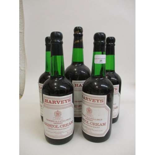 25 - Five bottles of Harvey's Bristol Cream Sherry...