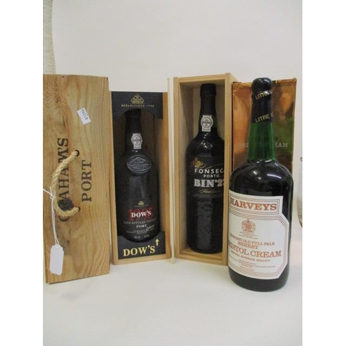34 - Three bottles of port to include Grahams 1978 late vintage, Dow and Fonseca and one bottle of Harvey...